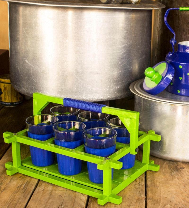 PoppadumArt Royal Blue & Green Glass & Aluminium Chaiwala Tea Set - Set of 8