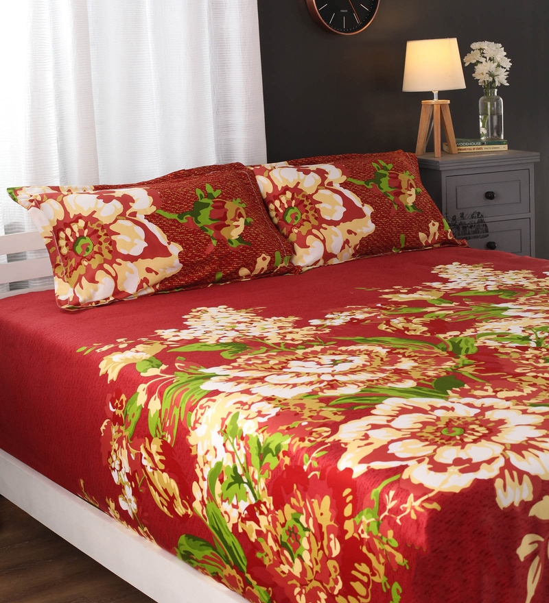 Multicolour Nature & Florals Cotton King Size Bed Sheets - Set of 3 by Portico New York