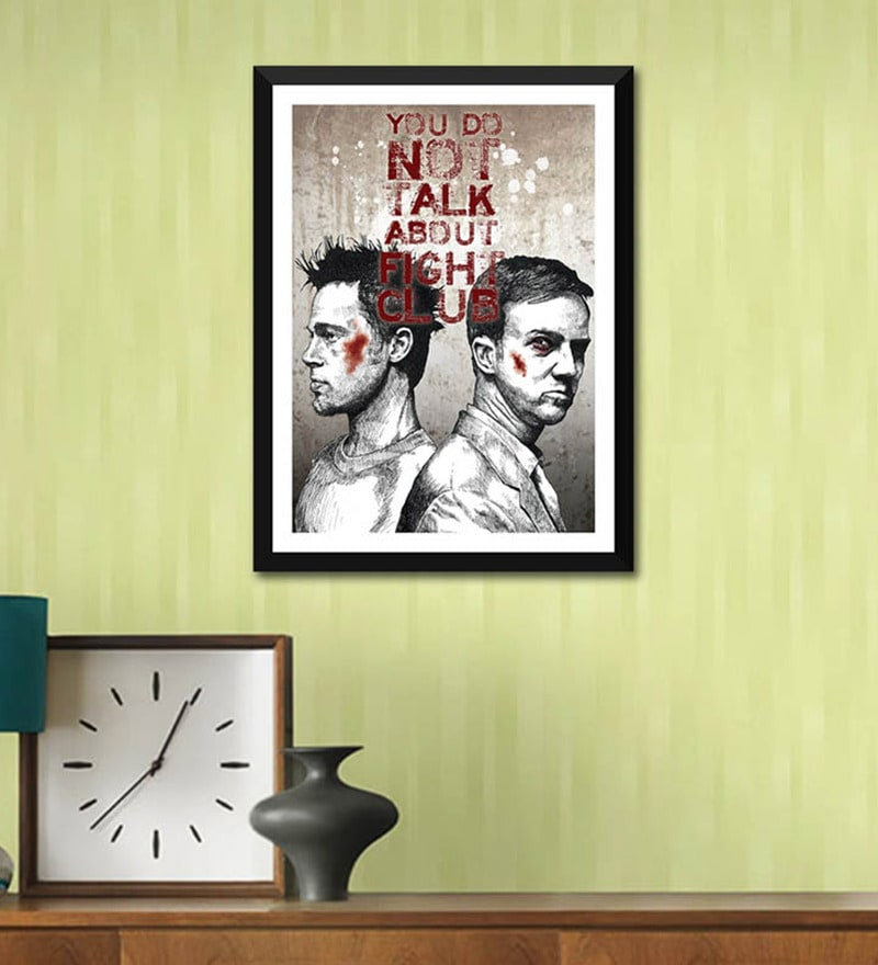Poster Paper 12 x 17 Inch Graphic Art Fight Club Quote You Do Not Talk About The Fight Club Framed Poster by Tallenge