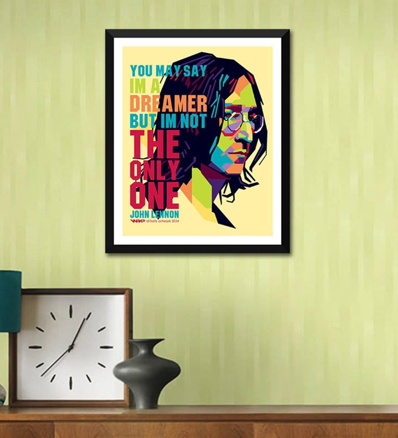 Poster Paper 12 x 17 Inch Music and Musicians Collection John Lennon Imagine Graphic Art Framed Poster by Tallenge