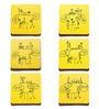 Poppadum Art Dumb Bartender Yellow MDF Coasters - Set of 6