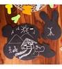 Poppadum Art Honey Bunny Chalkboard Puzzle Black MDF Placemat