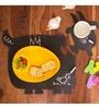 Poppadum Art Old Mr. Goat Chalkboard Puzzle Black MDF Placemat