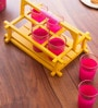 Poppadum Art Pink Glass 100 ML Chai Cups - Set of 6