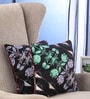 Black Cotton 16 x 16 Inch Nishka Lulla Cushion Cover - Set of 2 by Portico New York