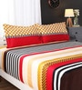 Multicolour Geometric Patterns Cotton King Size Bed Sheets - Set of 3 by Portico New York