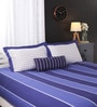 Blues Geometric Patterns Cotton King Size Bed Sheets - Set of 4 by Portico New York