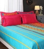 Multicolour Indian Ethnic Cotton King Size Bed Sheets - Set of 3 by Portico New York