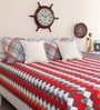 Red Cotton Queen Size Geometric Print Bed Sheet with 2 Pillow Covers by Portico New York