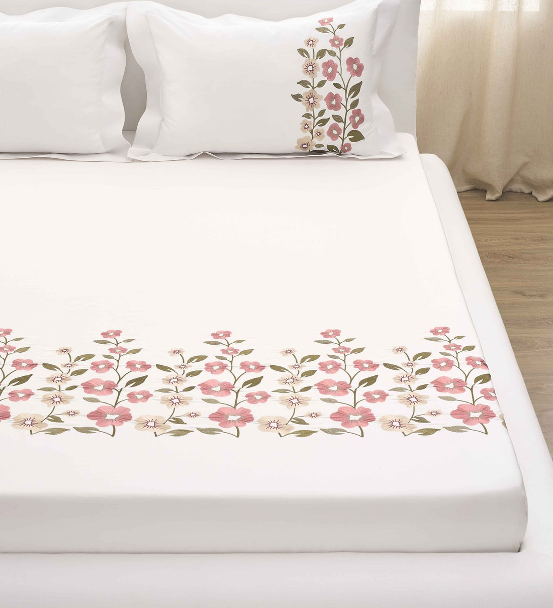 Buy Premium Embroidery Cotton 400 Tc King Size Bedsheet With 2 Pillow Covers By Ddecor Live Beautiful Online Floral Double Bed Sheets Bed Sheets Furnishings Pepperfry Product