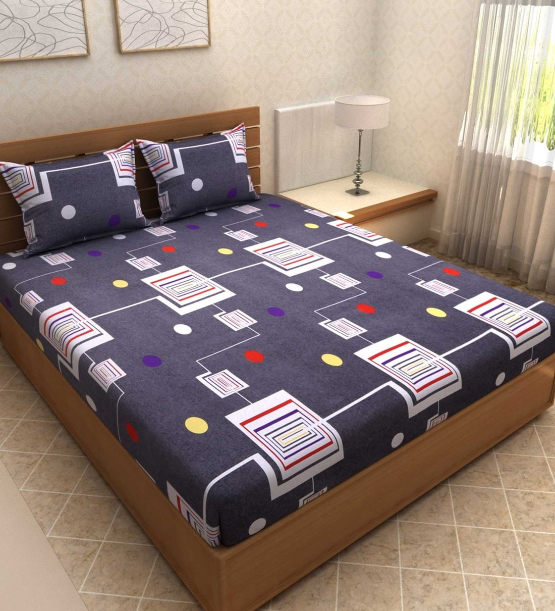 Fabture Glace Cotton Check Printed 180 TC Double Bedsheet with 2 Pillow Covers