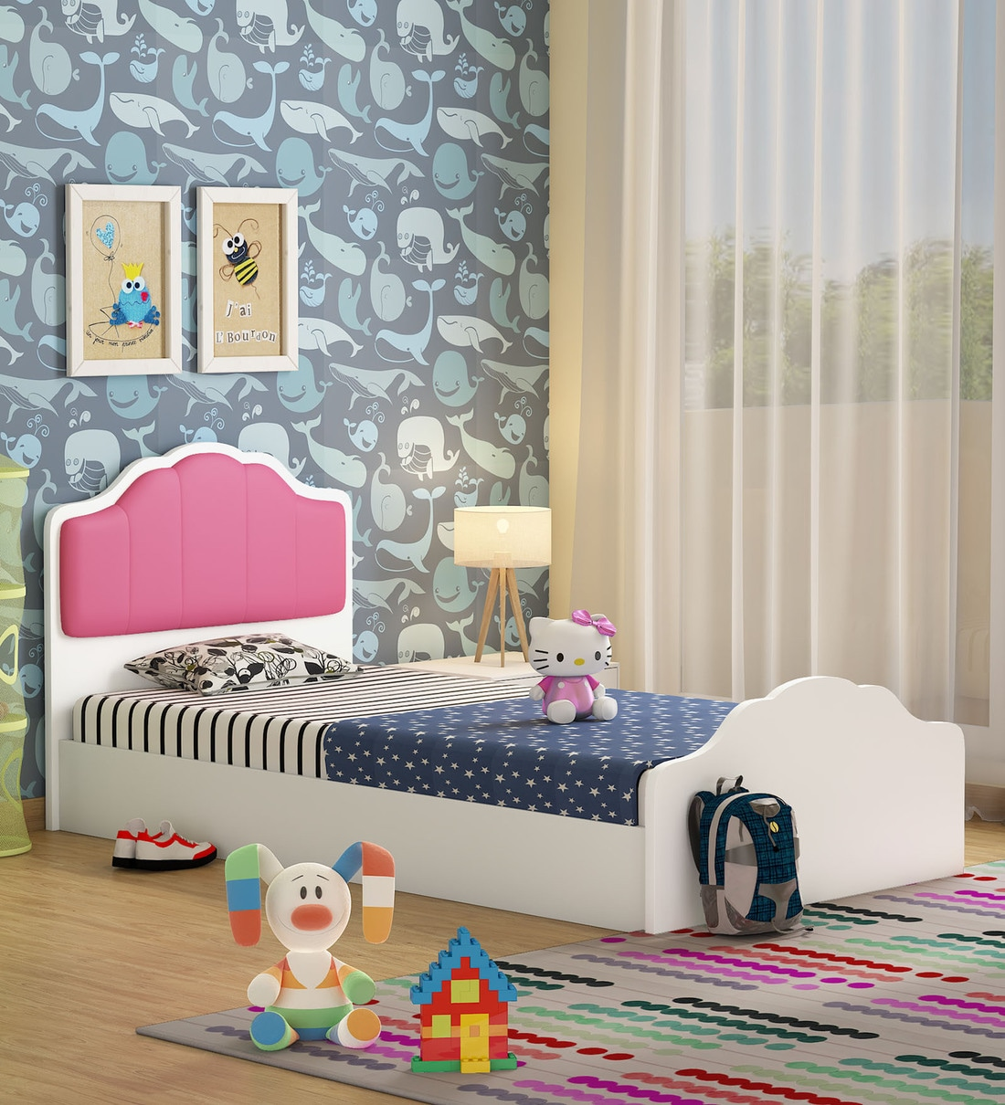 Buy Princess Single Bed In White Pink Finish By Mintwud Online Kids Single Beds Kids Single Beds Kids Furniture Pepperfry Product