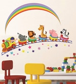 PVC Wall Stickers Animals Train and Rainbow