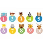 PVC Wall Stickers Cute Animals with Numbers