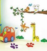 Tree Branch Giraffe Monkey Rabbit For Kids Room Wall Sticker