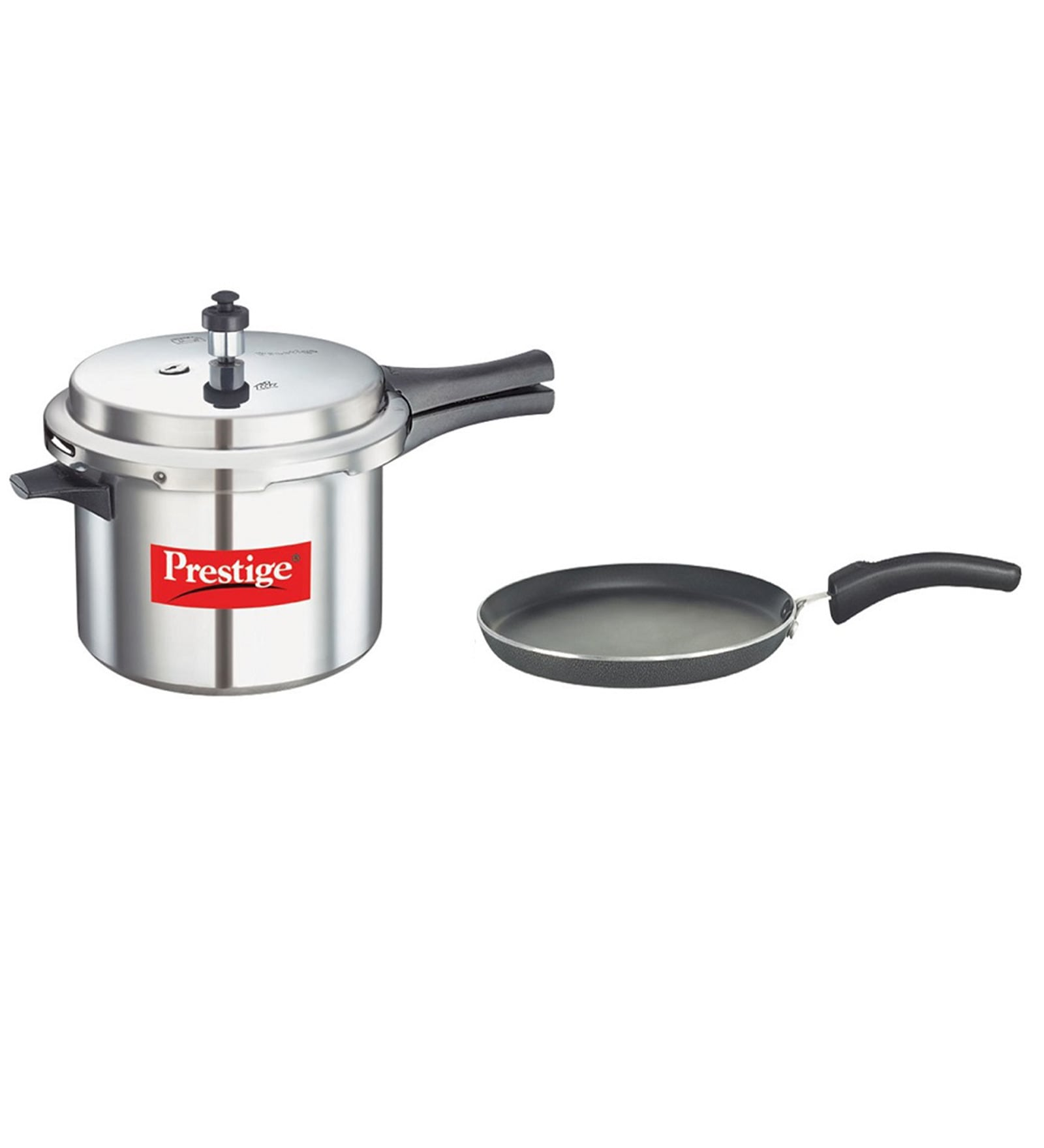 Prestige Popular Aluminium 5 L Pressure Cooker and Omni Pan Set