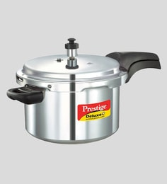 Prestige Deluxe Plus Induction Base Aluminium Pressure Cooker, 5 Litres, Silver