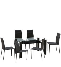 Presto Six Seater Dining Set in Dark Brown Colour by HomeTown HomeTownHomeTown at pepperfry