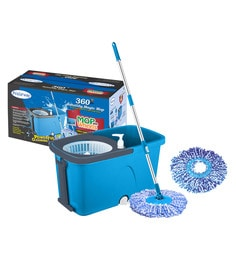 Primeway Stainless Steel & Polyester Executive Mop On 2 Wheels With Water Outlet, Liquid Dispenser With 2 Microfiber Heads
