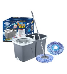 Primeway Stainless Steel & Polyester Twin Bucket & Spin Mop For 360 Degree Rotating Cleaning With 2 Microfiber Mop Heads - 1639982