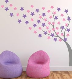 Print Mantras Beautiful Windy Blossom Tree Wall Sticker at pepperfry