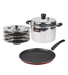 Pristine Stainless Steel Idli Cooker & Non Stick Dosa Tawa Combo Set