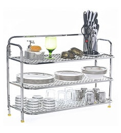 Stainless Steel Multi Utility Kitchen Stand With 3 Racks 30 X 10 Inches