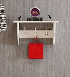 Provencal Solid Wood Multi-Purpose Wall Shelf With Hooks In White Finish