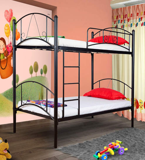 Prague Kids Bunk Bed In Black Colour By Furniturekraft Online Beds Furniture Pepperfry Product