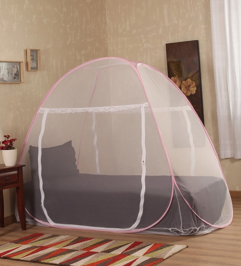 Buy Prc Net Terylene Pink White Single Bed Mosquito Net Online