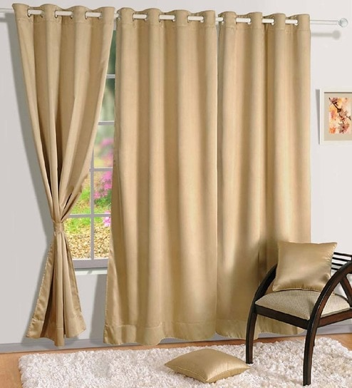 Buy Swayam Premium Blackout Beige Silk 90x48 INCH Eyelet Door ...