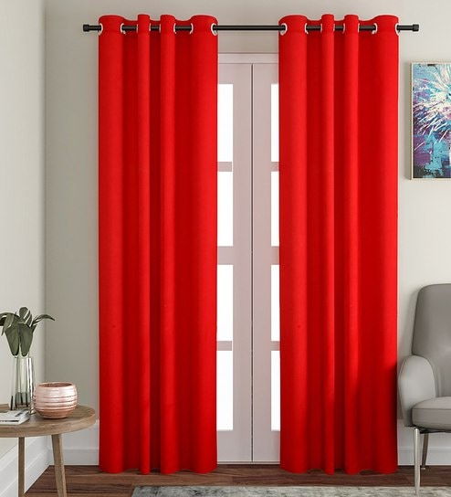 Premium Cotton Solid Design Red Color Eyelet Curtain Long Door Curtain 46 X 108 Inches By Soumya