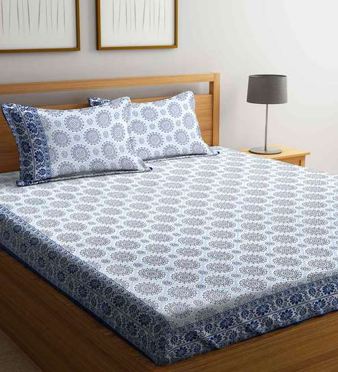 Premium Ethnic Motifs 200 TC Double Size (Bed Sheet With 2 Pillow Covers) By