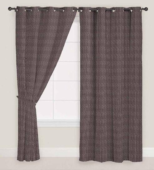 Geometric Pattern Polyester 5 Feet Window Curtain Set Of 2 By Presto