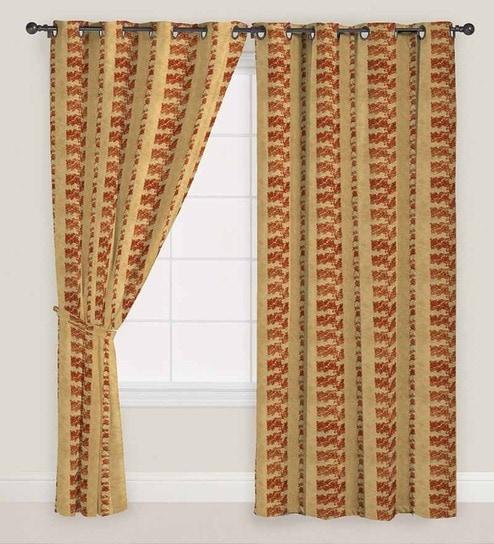 Rust Abstract Print Window Curtain