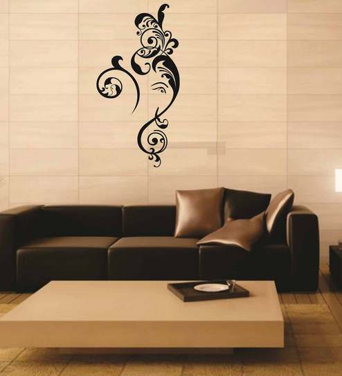 buy auspicious and floral god ganesha pvc wall stickerprint