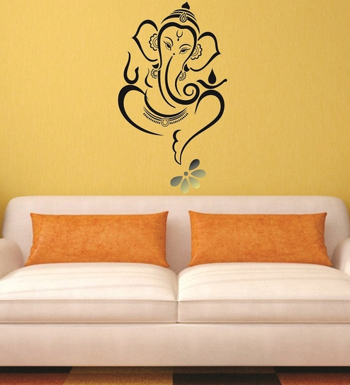 buy print mantras beautiful god ganesha and flower pvc wall sticker