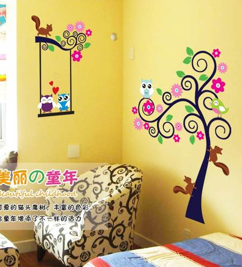 Buy Print Mantras Kids Tree Owl Squirrel Wall Sticker Online - Kids ...