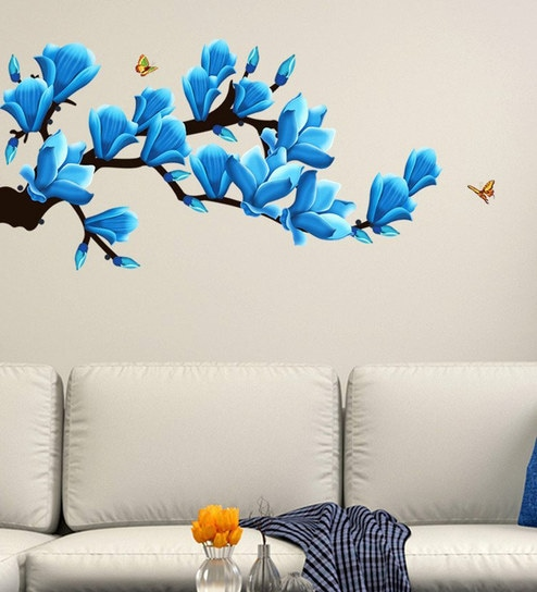 PVC Wall Stickers Beautiful Artistic Flowers Branches And Butterflies 3D  Look By Print Mantras Part 79