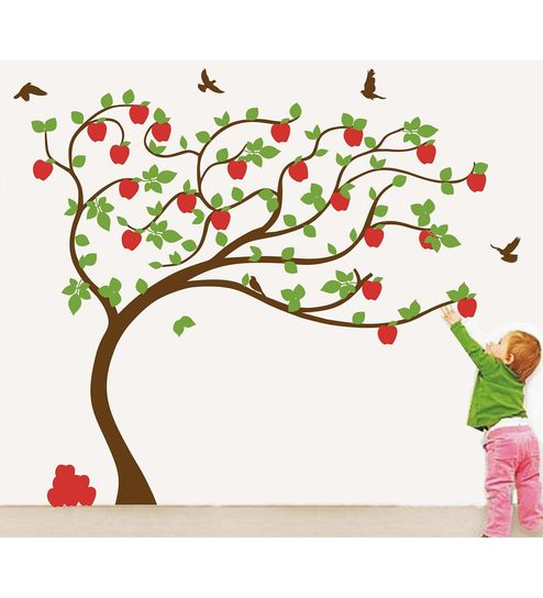 buy pvc wall stickers beautiful big apple tree (7 feet * 6 feet)