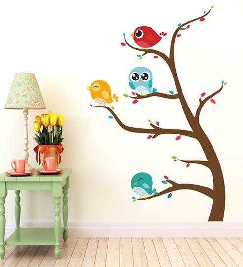 buy print mantras pvc wall stickers beautiful birds on tree online