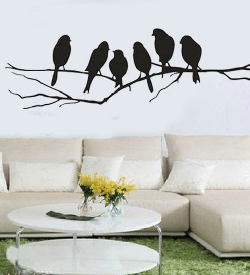Buy print mantras pvc wall stickers beautiful black sparrows on pvc wall stickers beautiful black sparrows on branches by print mantras thecheapjerseys Gallery