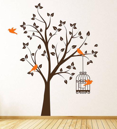 buy print mantras pvc wall stickers beautiful brown tree orange