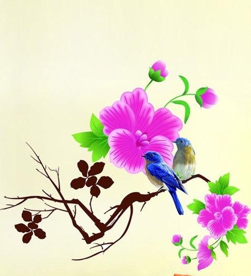 Buy print mantras pvc wall stickers beautiful tree branches birds pvc wall stickers beautiful tree branches birds pink flowers by print mantras mightylinksfo