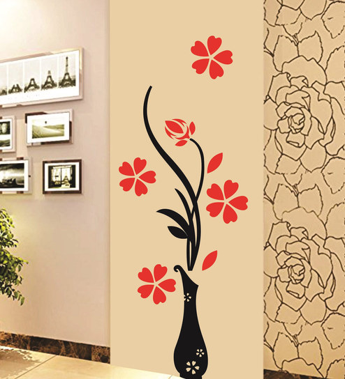 buy print mantras pvc wall stickers beautiful vase and flowers