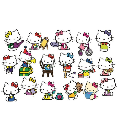 Pvc wall stickers cute hello kitty 17 kitty stickers by print mantras