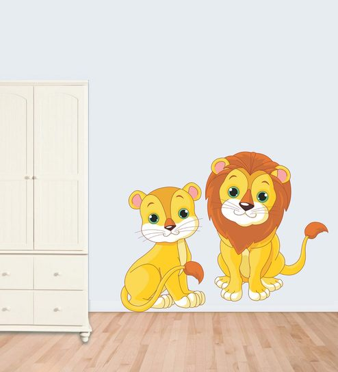 6f72f4bfb Buy PVC Wall Stickers Cute Lion and Cub by Print Mantras Online - Kids Wall  Stickers - Wall Stickers - Wall Art - Pepperfry Product