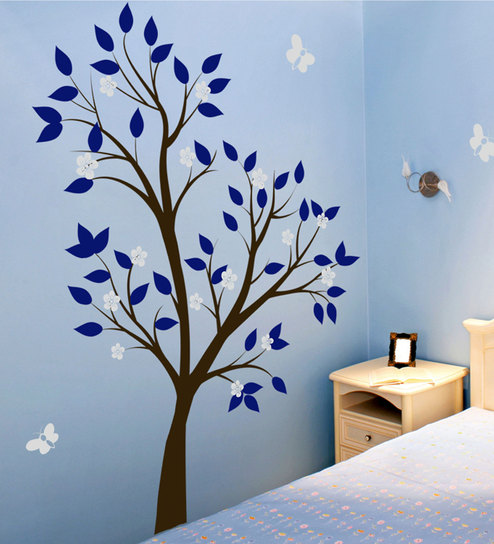 buy print mantras pvc wall stickers tree blue leaves grey flowers