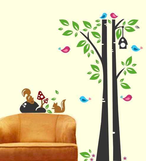 PVC Wall Stickers Tree Squirrel Birds By Print Mantras Part 55