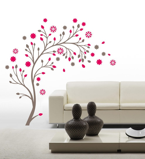 PVC Wall Stickers Wall Decals Pink Tree By Print Mantras Part 54